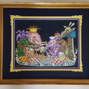 "Gold Framed ""New Orleans Oyster Eating Club"" Fancy Version with added Gold Leaf, Fine Art Giclee, signed and numbered"