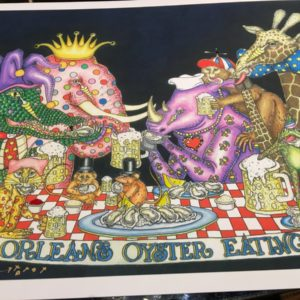 """New Orleans Oyster Eating Club"" Fancy Version with added Gold Leaf, Fine Art Giclee, signed and numbered 12 X 16"