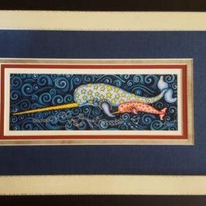 White Wood Framed Narwhal Fancy Version with added Gold Leaf, Fine Art Giclee, signed and numbered