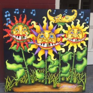 Sun and Moon Piano Mouth Flowers, original oil painting, 39″ square