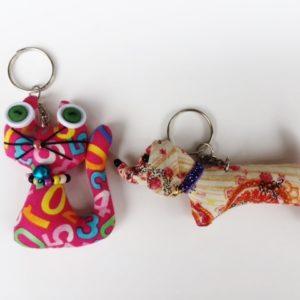 Set of 2 handmade stuffed key chain,  dachshund and cat