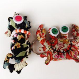 Set of 2 handmade stuffed key chain,  seahorse and crab