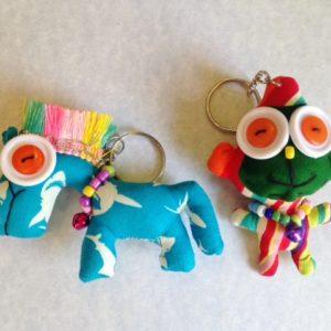 Set of 2 handmade stuffed key chain,  pony and monkey