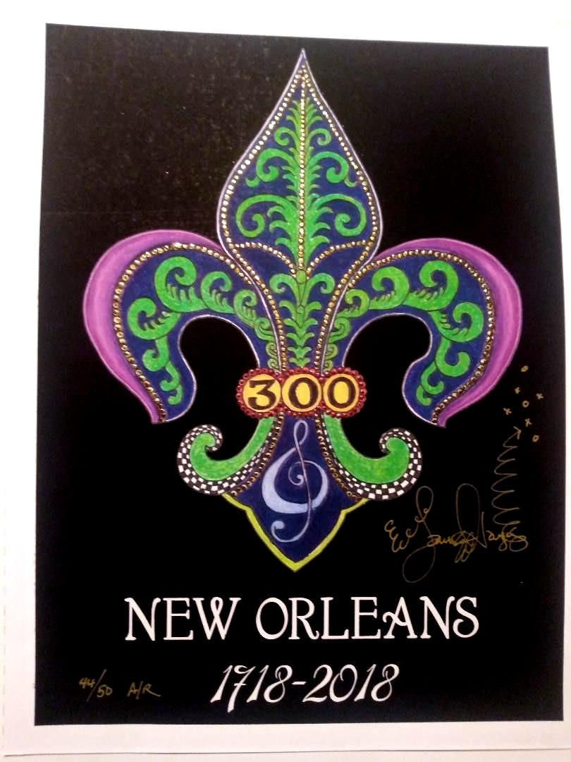 1718-2018 Jamie Hayes SIGNED New Orleans 300 Anniversary POSTER Fleur de lis